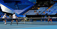 3rd January 2020; RAC Arena, Perth, Western Australia; ATP Cup Australia, Perth, Day 1,; USA v Norway Rajeev Ram and Austin Krajicek of the USA in the doubles against team Norway - Editorial Use