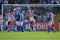 Stevenage line up a corner during Stevenage vs Tranmere Rovers, Sky Bet EFL League 2 Football at the Lamex Stadium on 4th August 2018