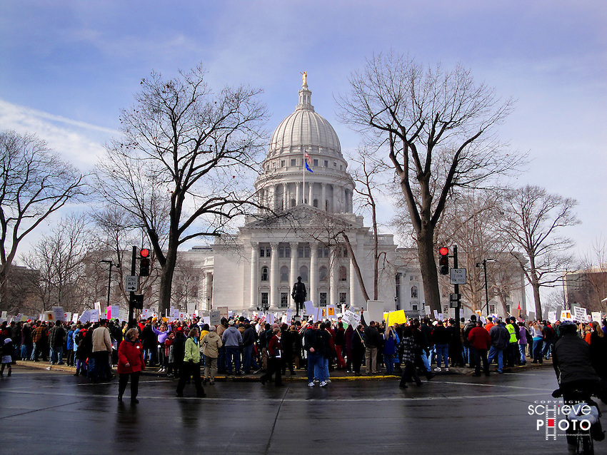 Thousands of protesters converge on the Wisconsin State Capitol for several days to voice their displeasure against the governor.