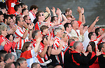 10 July 2014, Derry City fans, during the game, Aberystwyth Town. UEFA Europa League First Qualifying Round, Second Leg, Aberystwyth Town v Derry City. Park Avenue, Aberystwth, Wales. Picture credit: Ian Cook / SPORTINGWALES