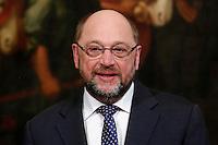Martin Schulz<br /> Roma 12-02-2016 Palazzo Chigi, il Premier italiano incontra il Presidente del Parlamento Europeo.<br /> Rome 12th February 2016. The Italian Premier meets the President of the European Parliament.<br /> Photo Samantha Zucchi Insidefoto
