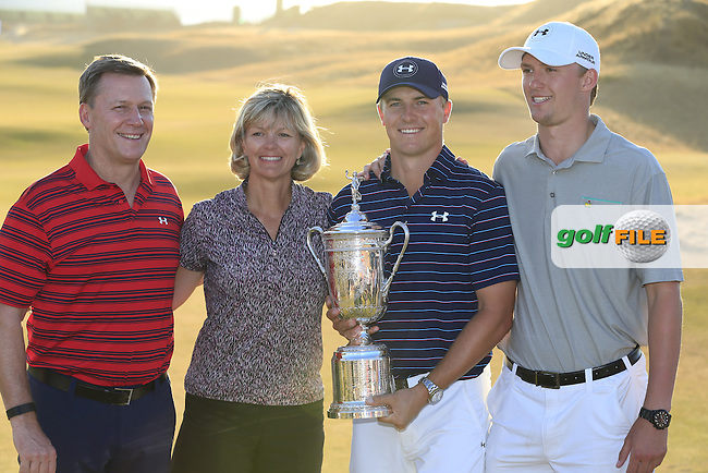 Jordan Speith (USA) with his family after winning the 115th 2015 U.S. Open Championship at the end of Sunday's Final Round of held at Chambers Bay, Seattle, Washington, USA. 6/22/2015.<br /> Picture: Golffile | Eoin Clarke<br /> <br /> <br /> <br /> All photo usage must carry mandatory copyright credit (&copy; Golffile | Eoin Clarke)