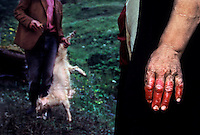 Bloody Hand Pagan. A women washes her hands in the blood of sacrificed animals. There are valleys that still have yearly pagan festivals in some of the most dangerous places in the Republic of Georgia.  No priests or working churches are in this region.  Every village has an elder with priest-like-powers. People in this area battled Christianity all through the 11th, 12th, and 13th centuries in order to preserve their pagan ways.