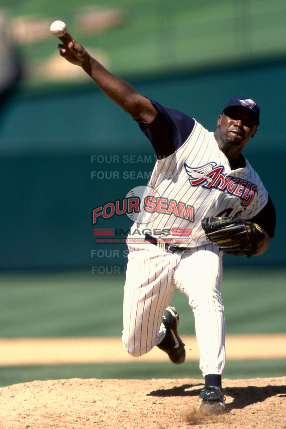 Pep Harris of the Anaheim Angels plays in a baseball game at Edison International Field during the 1998 season in Anaheim, California. (Larry Goren/Four Seam Images)