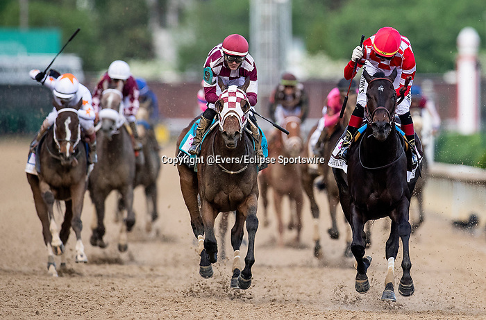 LOUISVILLE, KENTUCKY - MAY 03: Serengeti Empress with Jose Ortiz aboard wins the Kentucky Oaks at Churchill Downs in Louisville, Kentucky on May 03, 2019. Evers/Eclipse Sportswire/CSM