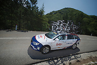 Lotto-Belisol teamcar descending the Col de Macuègne (2nd Cat)<br /> <br /> Tour de France 2013<br /> stage 16: Vaison-la-Romaine to Gap, 168km
