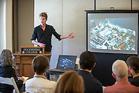 Joseph Dingman talks about Planning for Environmentally Sustainable Metropolitan Development in Sweden as part of the 2012 Research Abroad Conference, October 25, 2012, Morrison Lounge. (Photo by Marc Campos, Occidental College Photographer)