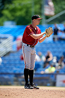 Altoona Curve relief pitcher Logan Sendelbach (36) looks in for the sign during a game against the Binghamton Rumble Ponies on June 14, 2018 at NYSEG Stadium in Binghamton, New York.  Altoona defeated Binghamton 9-2.  (Mike Janes/Four Seam Images)