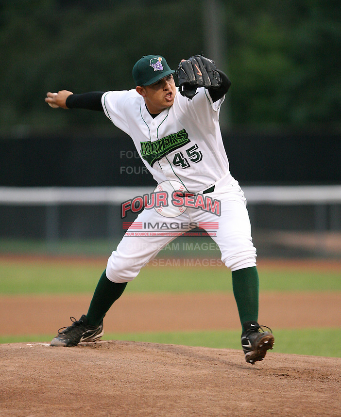Carlos Faria of the Jamestown Jammers, Class-A affiliate of the Florida Marlins, during New York-Penn League baseball action.  Photo by Mike Janes/Four Seam Images