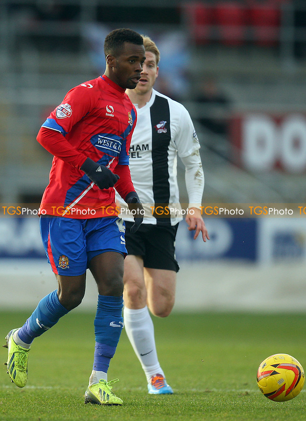 Zavon Hines of Dagenham and Redbridge - Dagenham and Redbridge vs Scunthorpe United, Sky Bet Football League football at the London Borough of Barking and Dagenham  Stadium - 25/01/14 - MANDATORY CREDIT: Dave Simpson/TGSPHOTO - Self billing applies where appropriate - 0845 094 6026 - contact@tgsphoto.co.uk - NO UNPAID USE