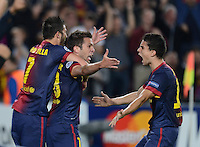 FUSSBALL   INTERNATIONAL   CHAMPIONS LEAGUE   2012/2013      FC Barcelona - Celtic FC Glasgow       23.10.2012 JUBEL Barca nach dem Siegtor zum 2-1 in der letzten Spielminute; Torschuetze Jordi Alba (Mitte) umarmt von David Villa (li) und Marc Bartra (re)