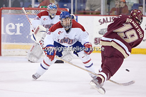 Matt Collar, Brock Bradford - The Boston College Eagles defeated the University of Massachusetts-Lowell River Hawks 4-3 in overtime on Saturday, January 28, 2006, at the Paul E. Tsongas Arena in Lowell, Massachusetts.