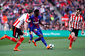 18th March 2018, Camp Nou, Barcelona, Spain; La Liga football, Barcelona versus Athletic Bilbao; Ousmane Dembélé of FC Barcelona takes on Saborit of Athletic Bilbao