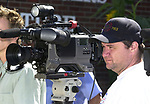 ?? Cameraman seen at a Press Conference in front of a Department of Health vehicle parked in driveway of the Suffolk County Legislature Building in Hauppauge on Tuesday september 17, 2002. (Newsday photo by Jim Peppler).