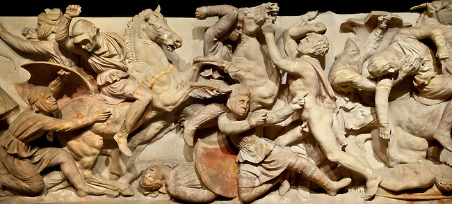 Greek relief sculptures of a battle on Alexander The Great ( Alexander III of Macedon )4th Cent BC. Sarcophagus calved from Pentelic Marble from the Royal Necropolis of Sidon, Chamber no.III, Lebanon. Istanbul Archaeological Museum Inv. 370T Cat. Mendel 68