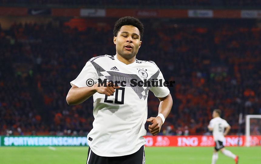 Serge Gnabry (Deutschland Germany) nach vergebener Chance - 24.03.2019: Niederlande vs. Deutschland, EM-Qualifikation, Amsterdam Arena, DISCLAIMER: DFB regulations prohibit any use of photographs as image sequences and/or quasi-video.
