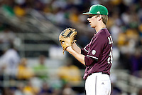 Mississippi State pitcher Evan Mitchell #51 looks in to the batter against the LSU Tigers during the NCAA baseball game on March 17, 2012 at Alex Box Stadium in Baton Rouge, Louisiana. The 10th-ranked LSU Tigers beat #21 Mississippi State, 4-3. (Andrew Woolley / Four Seam Images)..