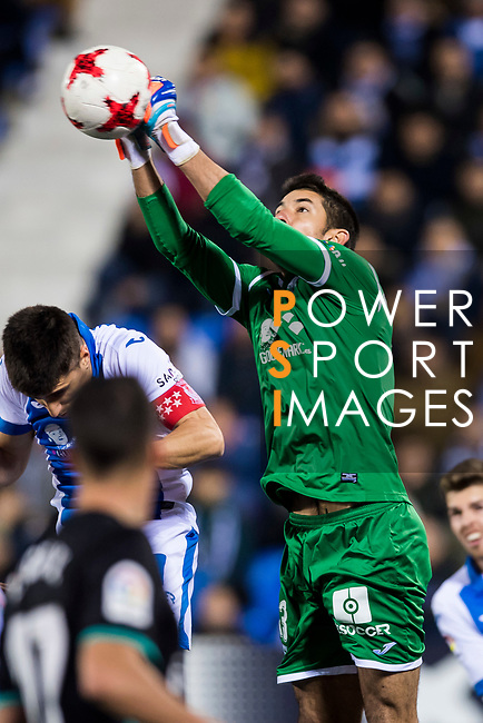 Goalkeeper Nereo Champagne of CD Leganes saves the ball during the Copa del Rey 2017-18 match between CD Leganes and Real Madrid at Estadio Municipal Butarque on 18 January 2018 in Leganes, Spain. Photo by Diego Gonzalez / Power Sport Images