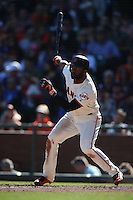 SAN FRANCISCO, CA - OCTOBER 2:  Denard Span #2 of the San Francisco Giants bats against the Los Angeles Dodgers during the game at AT&T Park on Sunday, October 2, 2016 in San Francisco, California. Photo by Brad Mangin