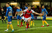 Fleetwood Town's Paddy Madden celebrates scoring his side's equalising goal to make the score 1-1<br /> <br /> Photographer Alex Dodd/CameraSport<br /> <br /> The EFL Sky Bet League One - Fleetwood Town v Shrewsbury Town - Tuesday 13th February 2018 - Highbury Stadium - Fleetwood<br /> <br /> World Copyright &copy; 2018 CameraSport. All rights reserved. 43 Linden Ave. Countesthorpe. Leicester. England. LE8 5PG - Tel: +44 (0) 116 277 4147 - admin@camerasport.com - www.camerasport.com
