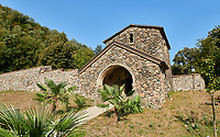 Pictures & images of Ubisa St. George Georgian Orthodox medieval monastery, 1141, Georgia (country)<br /> <br /> Ubisa St. George was founded by St. Grigol (Gregory) of Khandzta under the patronage of King of Abkhazs Demetre II. The church is a single nave with a single apse above the altar.