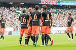 05.08.2017, Weserstadion, Bremen, GER, FSP, SV Werder Bremen (GER) vs FC Valencia (ESP)<br /> <br /> im Bild<br /> Toni Lato (Valencia #16) bejubelt seinen Treffer zum 1:2 mit Ruben Vezo (Valencia #3), Nemanja Maksimovic (Valencia #6), Eugeni Valderrama (Valencia #4), <br /> <br /> Foto © nordphoto / Ewert
