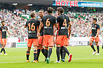 05.08.2017, Weserstadion, Bremen, GER, FSP, SV Werder Bremen (GER) vs FC Valencia (ESP)<br /> <br /> im Bild<br /> Toni Lato (Valencia #16) bejubelt seinen Treffer zum 1:2 mit Ruben Vezo (Valencia #3), Nemanja Maksimovic (Valencia #6), Eugeni Valderrama (Valencia #4), <br /> <br /> Foto &copy; nordphoto / Ewert