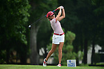 HOUSTON, TX - MAY 19: Paxton DeHaven of the University of Indianapolis tees off during the Division II Women's Golf Championship held at Bay Oaks Country Club on May 19, 2018 in Houston, Texas. DeHaven tied for seventh place with a seven over score of 295. (Photo by Justin Tafoya/NCAA Photos via Getty Images)