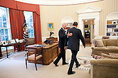 United States President Barack Obama and U.S. Vice President Joe Biden head toward the Oval Office Private Dining Room for lunch, June 8, 2011. .Mandatory Credit: Pete Souza - White House via CNP
