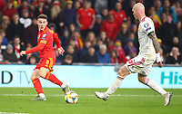 19th November 2019; Cardiff City Stadium, Cardiff, Glamorgan, Wales; European Championships 2020 Qualifiers, Wales versus Hungary; Harry Wilson of Wales crosses the ball into the box - Editorial Use