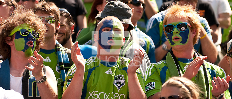 Seattle Sounders fans celebrate the Sounders 2-1 victory over the Houston Dynamo at the XBox Pitch at Quest Field on July 11, 2009.