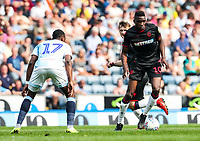 Bolton Wanderers' Sammy Ameobi goes past Blackburn Rovers' Amari'i Bell <br /> <br /> Photographer Andrew Kearns/CameraSport<br /> <br /> The EFL Sky Bet Championship - Blackburn Rovers v Bolton Wanderers - Monday 22nd April 2019 - Ewood Park - Blackburn<br /> <br /> World Copyright © 2019 CameraSport. All rights reserved. 43 Linden Ave. Countesthorpe. Leicester. England. LE8 5PG - Tel: +44 (0) 116 277 4147 - admin@camerasport.com - www.camerasport.com