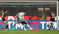 Calcio, Serie A: Milan vs Juventus. Milano, stadio San Siro, 9 aprile 2016. <br /> Juventus&rsquo; Mario Mandzukic, second from right, kicks to score during the Italian Serie A football match between AC Milan and Juventus at Milan's San Siro stadium, 9 April 2016.<br /> UPDATE IMAGES PRESS/Isabella Bonotto