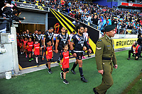 The teams walk out for the 2017 Rugby League World Cup quarterfinal match between New Zealand Kiwis and Fiji at Wellington Regional Stadium in Wellington, New Zealand on Saturday, 18 November 2017. Photo: Dave Lintott / lintottphoto.co.nz