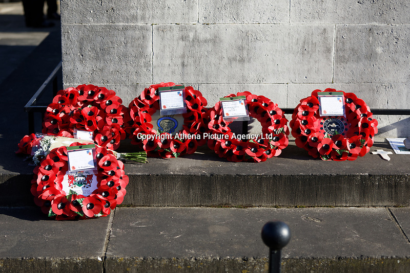 Pictured: Wreaths laid at the Cenotaph in Swansea, Wales, UK. Sunday 10 November 2019<br /> Re: Remembrance SUnday, a service to commemorate those who lost their lives in conflict has been held at the Cenotaph in Swansea, Wales, UK.