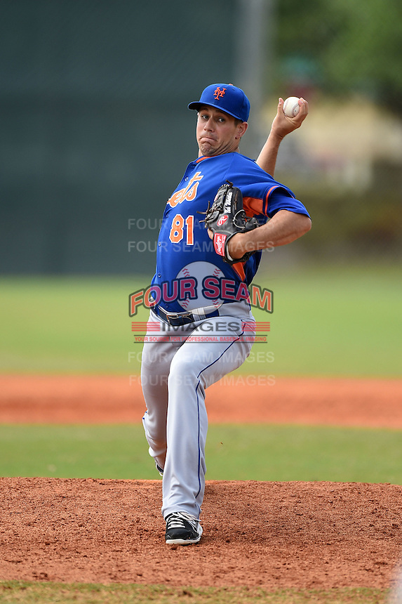 New York Mets pitcher Beck Wheeler (81) during a minor league spring training game against the Miami Marlins on March 28, 2014 at Roger Dean Stadium in Jupiter, Florida.  (Mike Janes/Four Seam Images)