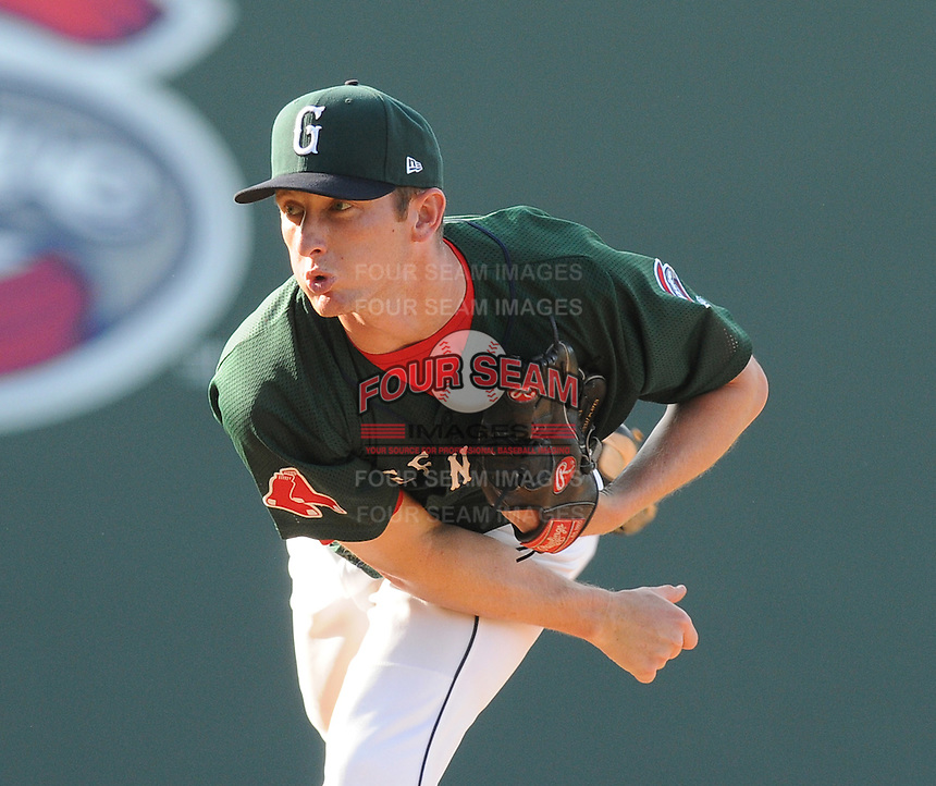 Pitcher Mike McCarthy (11) of the Greenville Drive in a game against the West Virginia Power on May 20, 2012, at Fluor Field at the West End in Greenville, South Carolina. Greenville won 6-5. (Tom Priddy/Four Seam Images)