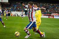 Atletico de Madrid´s Mario Mandzukic and Villarreal´s Victor Ruiz during 2014-15 La Liga match between Atletico de Madrid and Villarreal at Vicente Calderon stadium in Madrid, Spain. December 14, 2014. (ALTERPHOTOS/Luis Fernandez) /NortePhoto