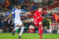 Michael Amir Murillo of Panama pressures Ben Woodburn of Wales during the International Friendly match between Wales and Panama at the Cardiff City Stadium, Cardiff, Wales on 14 November 2017. Photo by Mark Hawkins.