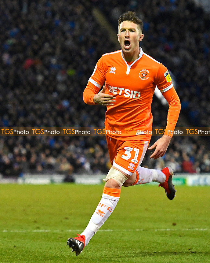 Chris Long of Blackpool celebrates scoring the first goal   during Portsmouth vs Blackpool, Sky Bet EFL League 1 Football at Fratton Park on 12th January 2019