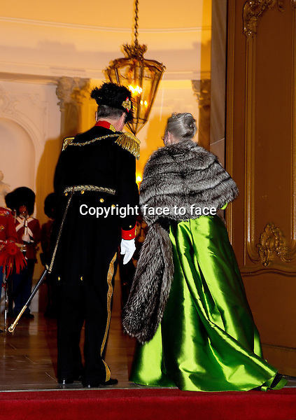01-01-2014 Amalienborg Queen Margrethe and Prince Henrik at the New Years reception at Amalienborg in Copenhagen.<br />