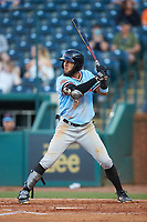 Miguel Aparicio (5) of the Hickory Crawdads at bat against the Ocelotes de Greensboro at First National Bank Field on June 11, 2019 in Greensboro, North Carolina. The Crawdads defeated the Ocelotes 2-1. (Brian Westerholt/Four Seam Images)