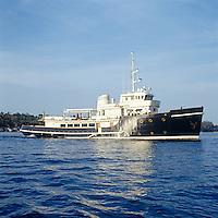 Alberta Ferretti's Russian icebraker turned houseboat  sailing in the Mediterranean