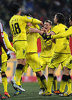 FUSSBALL   1. BUNDESLIGA  SAISON 2011/2012   20. Spieltag 1. FC Nuernberg - Borussia Dortmund         03.02.2012 Jubel nach dem Tor zum 0:2 Lucas Barrios, Lukasz Piszczek, Neven Subotic (v. li., Borussia Dortmund)