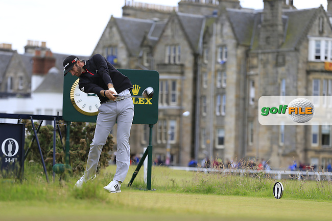 Dustin JOHNSON (USA) tees off the 2nd tee during Sunday's Round 3 of the 144th Open Championship, St Andrews Old Course, St Andrews, Fife, Scotland. 19/07/2015.<br /> Picture Eoin Clarke, www.golffile.ie