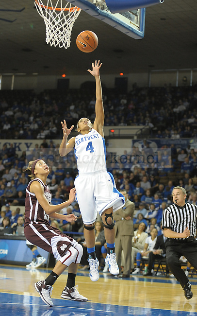 Kentucky's Keyla Snowden (4) lays up the ball during the second half of the University of Kentucky Women's basketball game against Mississippi State at Memorial Coliseum in Lexington, Ky., on 1/8/12. Uk won the game 88-40. Photo by Mike Weaver   Staff