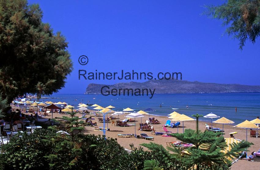 Griechenland, Kreta, Agia Marina: Strand beim Hotel Santa Marina   Greece, Crete, Agia Marina: beach near Hotel Santa Marina