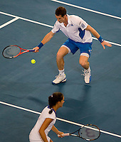 Andy Murray (GBR) and Laura Robson (GBR) against Igor Andreev (RUS) and Elena Dementieva (RUS)  in the Group B match between Great Britain and Russia. Andy Murray (GBR) and Laura Robson (GBR) beat Igor Andreev (RUS) and Elena Dementieva (RUS) 6-4 6-7 7-6..International Tennis - Hyundai Hopman Cup XXII - Fri 08 Jan 2010 - Burswood Dome - Perth - Australia ..© Frey - AMN Images, 1st Floor Barry House, 20-22 Worple Road, London, SW19 4DH