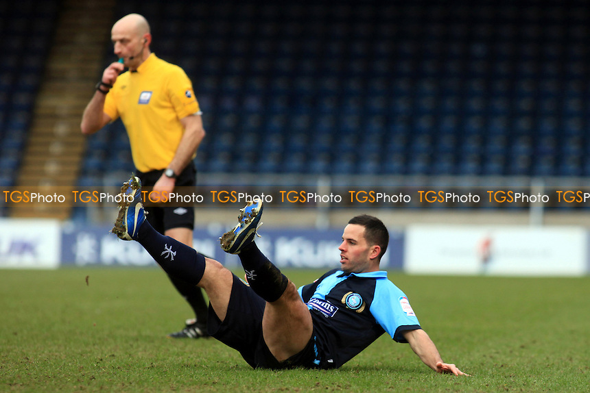 Wycombe's Sam Wood wins a free-kick after being fouled - Wycombe Wanderers vs Fleetwood Town - NPower League Two Football at Adams Park, High Wycombe - 02/03/13 - MANDATORY CREDIT: Paul Dennis/TGSPHOTO - Self billing applies where appropriate - 0845 094 6026 - contact@tgsphoto.co.uk - NO UNPAID USE.