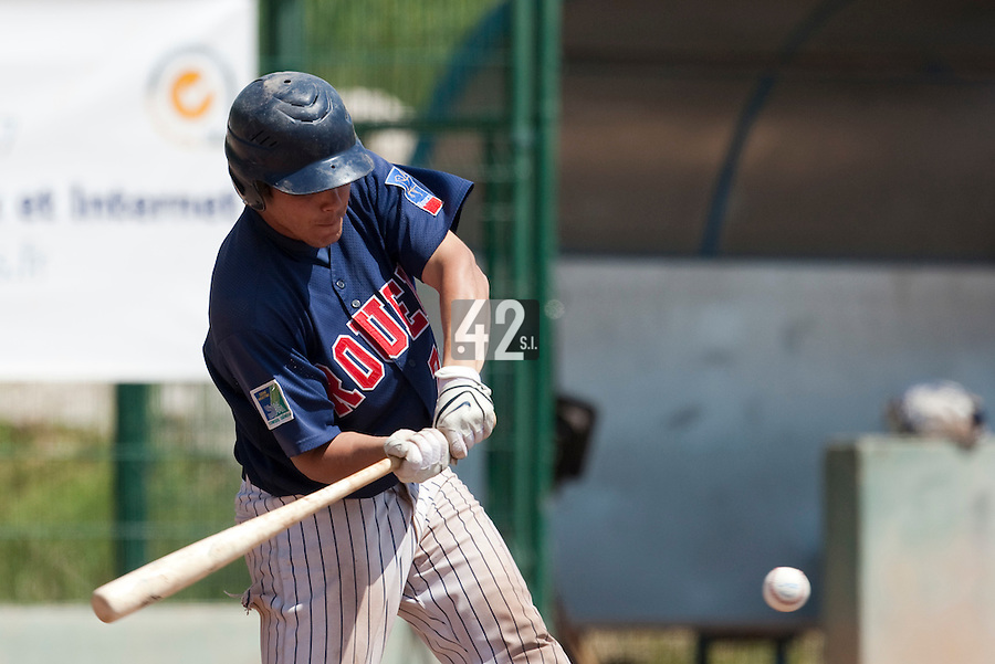 24 May 2009: Boris Marche of Rouen makes contact during the 2009 challenge de France, a tournament with the best French baseball teams - all eight elite league clubs - to determine a spot in the European Cup next year, at Montpellier, France. Rouen wins 7-5 over Savigny.
